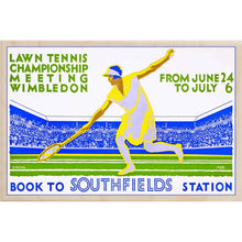 Load image into Gallery viewer, WIMBLEDON LAWN TENNIS-[wooden_postcard]-[london_transport_museum]-[original_illustration]THE WOODEN POSTCARD COMPANY