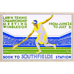 WIMBLEDON LAWN TENNIS-[wooden_postcard]-[london_transport_museum]-[original_illustration]THE WOODEN POSTCARD COMPANY