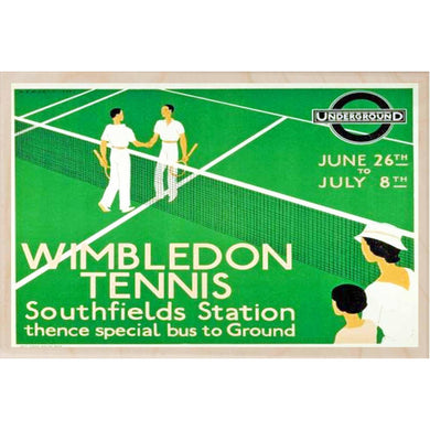 WIMBLEDON TENNIS-[wooden_postcard]-[london_transport_museum]-[original_illustration]THE WOODEN POSTCARD COMPANY