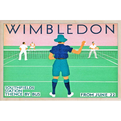 WIMBLEDON-[wooden_postcard]-[london_transport_museum]-[original_illustration]THE WOODEN POSTCARD COMPANY