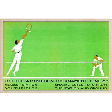 WIMBLEDON TOURNAMENT-[wooden_postcard]-[london_transport_museum]-[original_illustration]THE WOODEN POSTCARD COMPANY