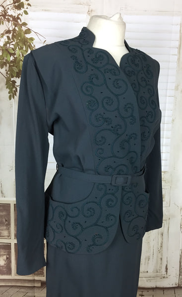 Original 1940s 40s Vintage Petrol Blue Embroidered Beaded And Belted Volup Skirt Suit