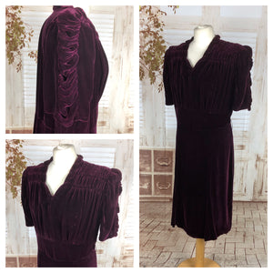 Original 1930s 30s Vintage Volup Aubergine Velvet Dress With Draped Puff Sleeves
