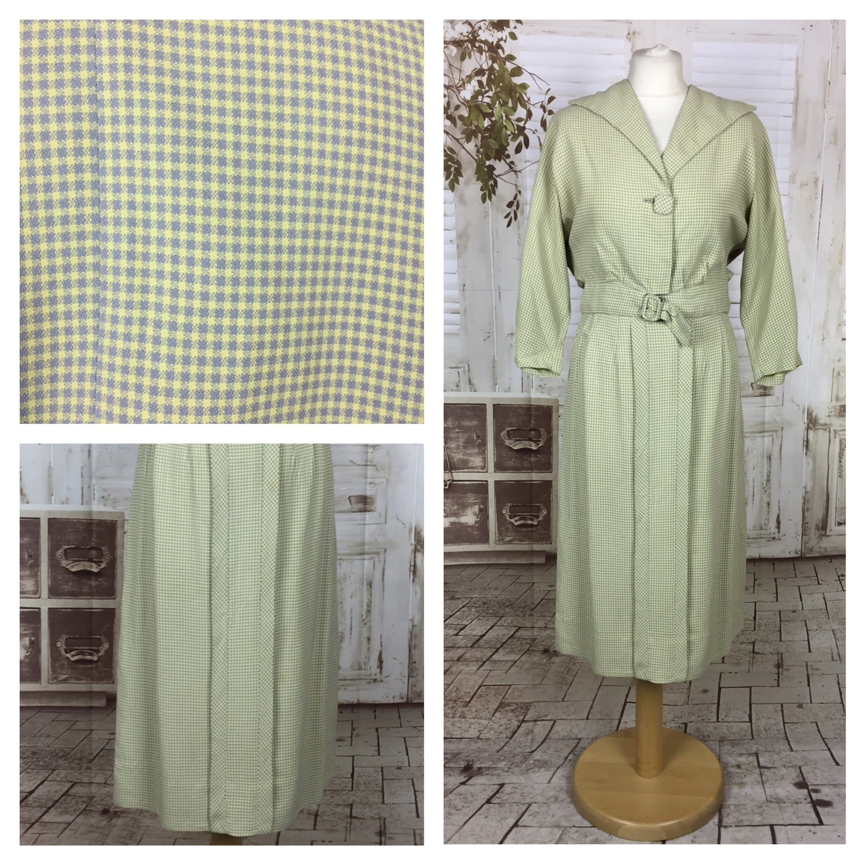 Original 1940s 40s Vintage Sportswear Green And Grey Belted Micro Check Skirt Suit