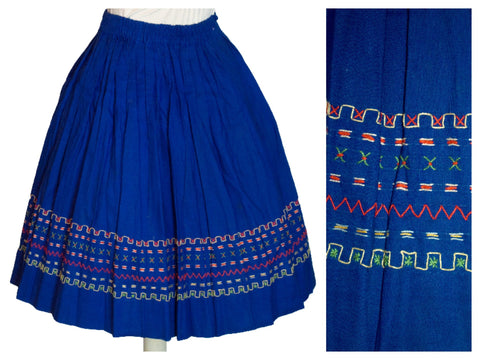 Original Vintage 1950's Blue Skirt Folk Decoration