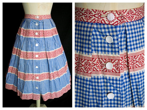 Original Vintage 1950's Blue and Red Gingham Skirt