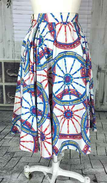 Original Vintage 1950s 50s White Cart Wheels Novelty Print Cotton Skirt