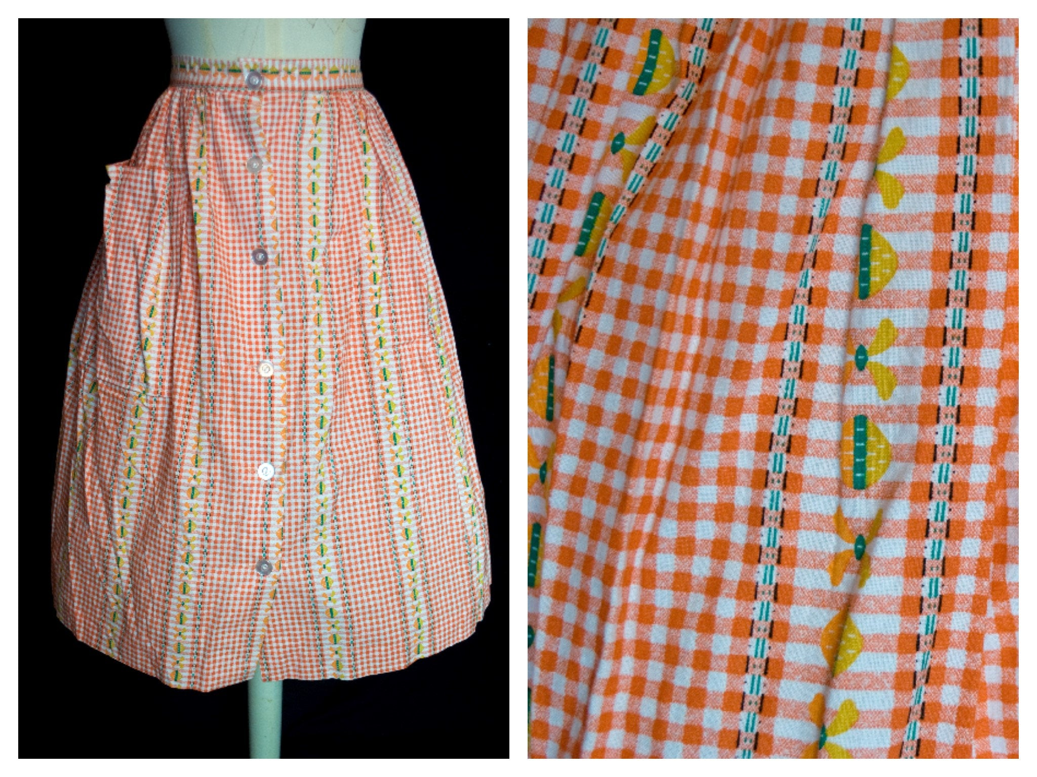 Original Vintage 1950's Gingham and White Stripe Skirt Deadstock
