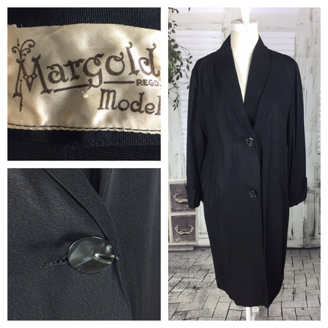 Original Vintage Early 1950's Black Taffata 3/4 Length Coat By Margold Model Code 2067a8