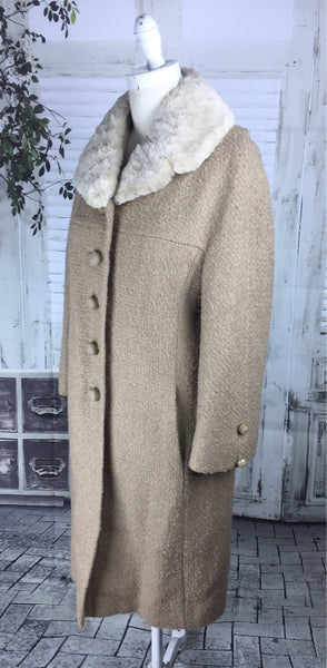 Original Vintage Late 1950's Felix Fashions Bouclé Wool Camel And Moleskin Collar Fur Coat