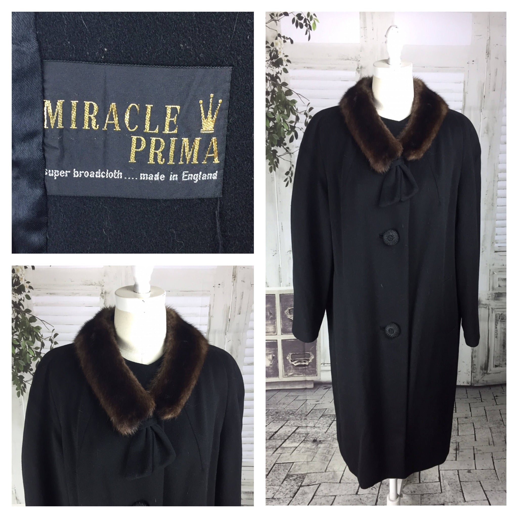 Original Vintage 1950's Miracle Prima Black Swing Coat With Mink Collar