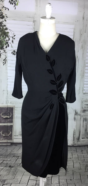 RESERVED ON LAYAWAY FOR KELLY - PLEASE DO NOT PURCHASE - Original Vintage 1940s 40s Black Appliqué Velvet And Crepe Cocktail Dress