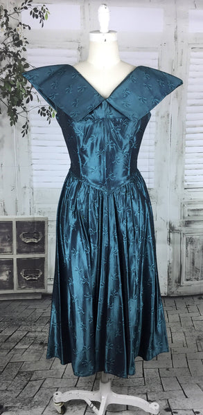 Original Vintage 1950s 50s Electric Blue Oversized Shoulder Collar Cocktail Dress