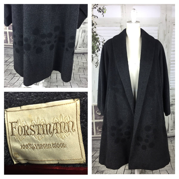 Original Vintage 1950s 50s Forstmann Grey Eye Lash Wool Trapeze Overcoat With Poodle Spots
