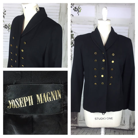 Original Vintage 1950s 50s Joseph Magnin Black Jacket Coat
