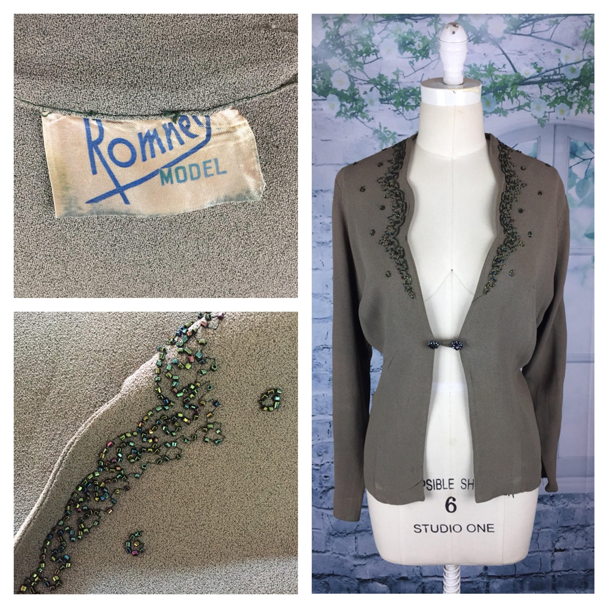 Original 1940s 40s Vintage Romney Olive Beaded Jacket