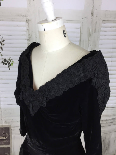 Original Vintage Black Velvet 1930s 30s Soutache Tassel Dress