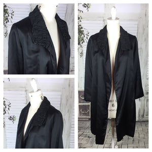 Original Vintage 1940s 40s Black Satin Evening Jacket
