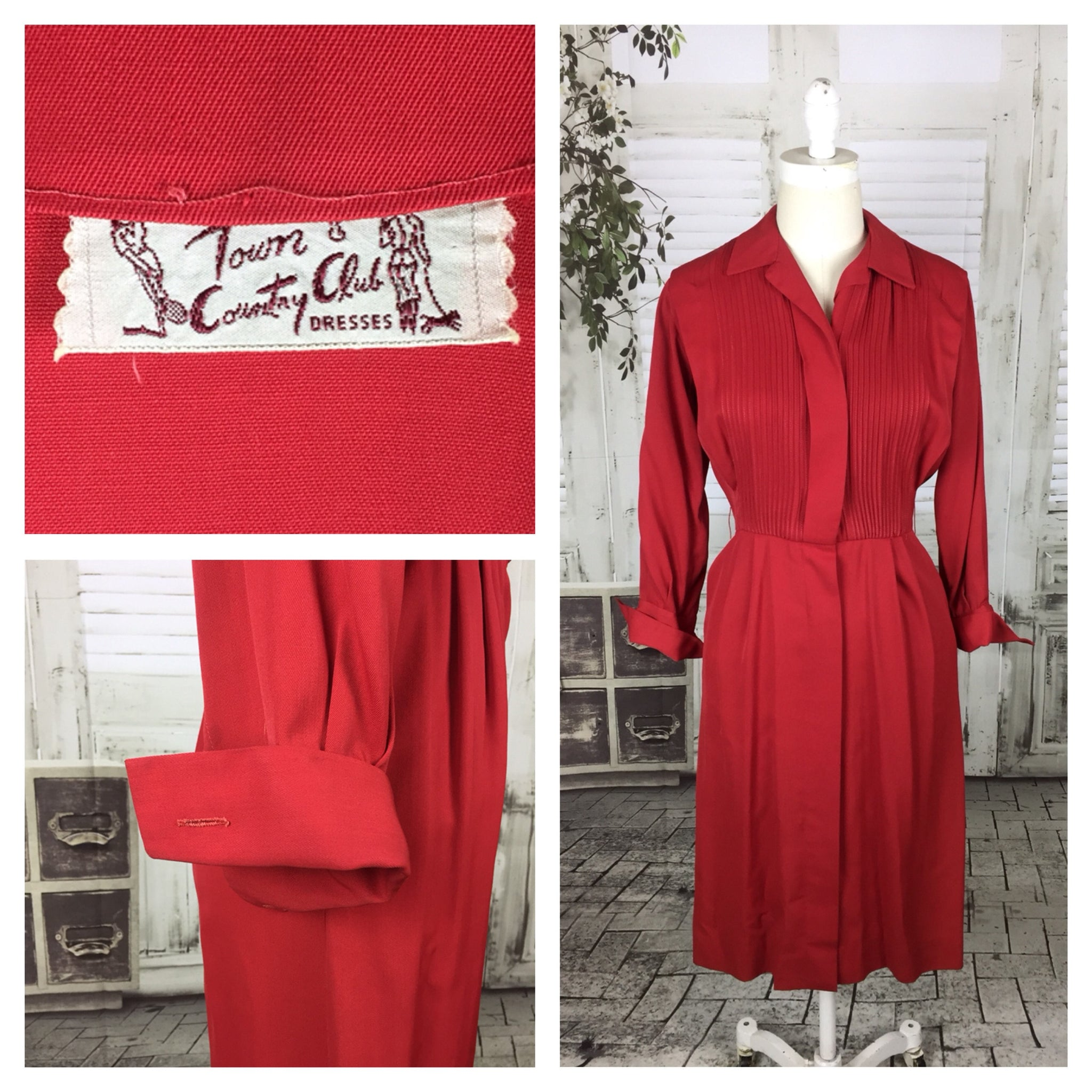 Original 1950s 50s Vintage Red Gabardine Button Up Day Dress By Town And Country Club Dresses