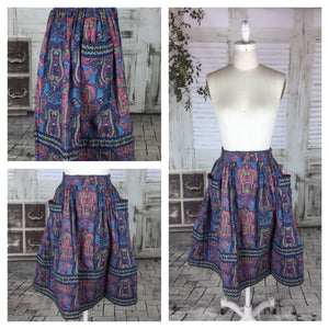 Original 1950s 50s Vintage Skirt With Purple And Blue Paisley Pattern