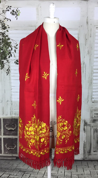 Original Vintage Red Wool And Gold Embroidered Shawl