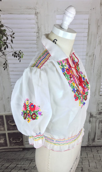 Original 1960s Hungarian Peasant Blouse With Embroidered Flower Decoration
