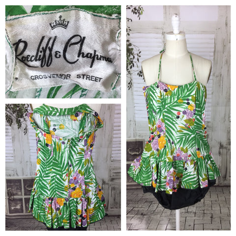 Original 1950s Vintage Roecliff & Chapman Swimsuit In Tropical Print Colours
