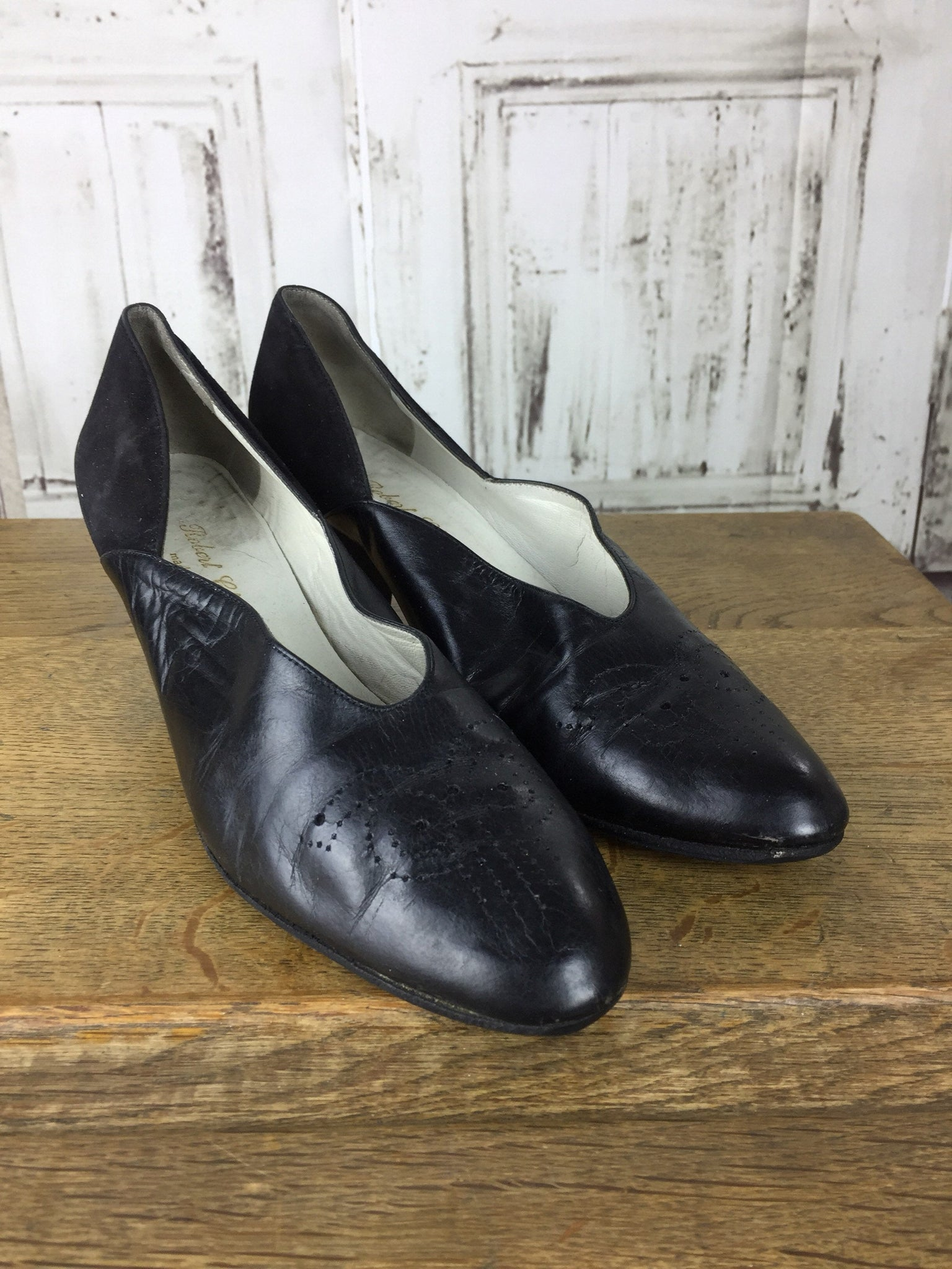 Original 1970s does 1940s Vintage Black Leather And Suede Heels With Pierced Decoration By Robert Clergerie