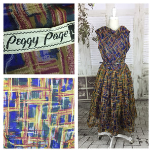 Original 1950s 50s Vintage Crazy Plaid Nylon Dress Peggy Page