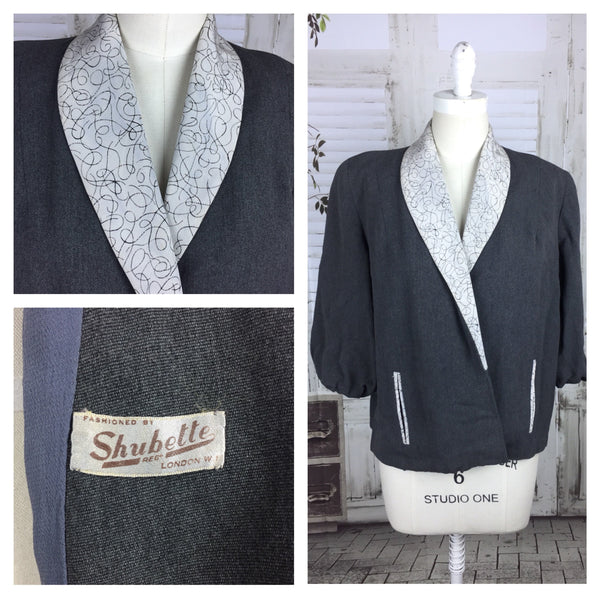 Original Vintage 1950s Swing Jacket With Scribble Collar By Shubette