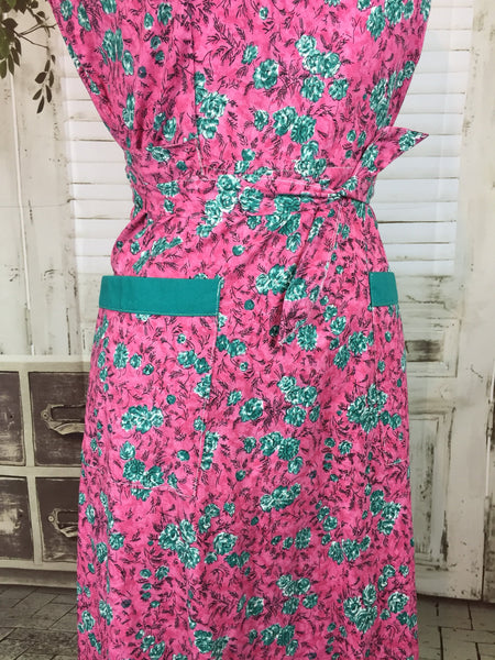 Original 1950s Vintage Pink And Green Housedress NICO