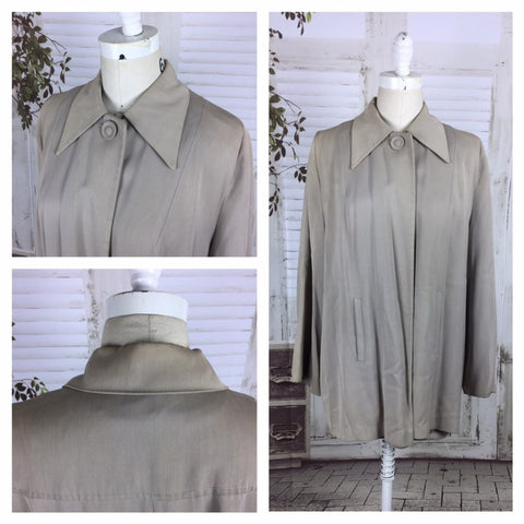 Original 1940s Vintage Grey Gabardine Swing Coat