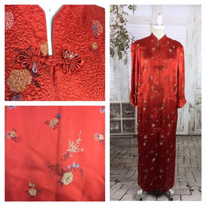 Original 1950s 50s Vintage Red Satin Asian House Coat
