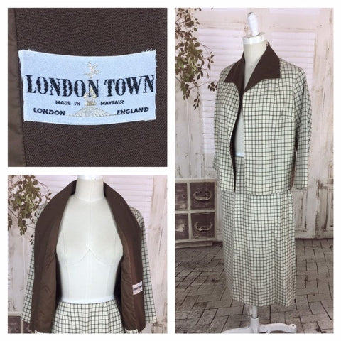 Original Late 1950s Vintage Brown And White Plaid Cheque Skirt Suit London Town
