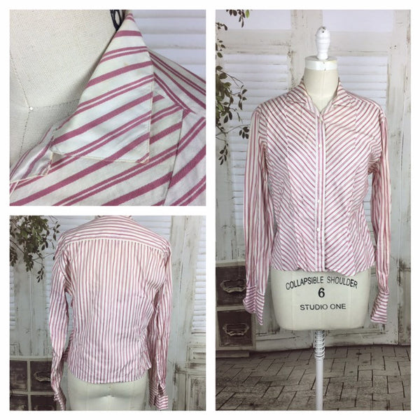 Original 1950s Vintage Pink And White Candy Stripe Blouse