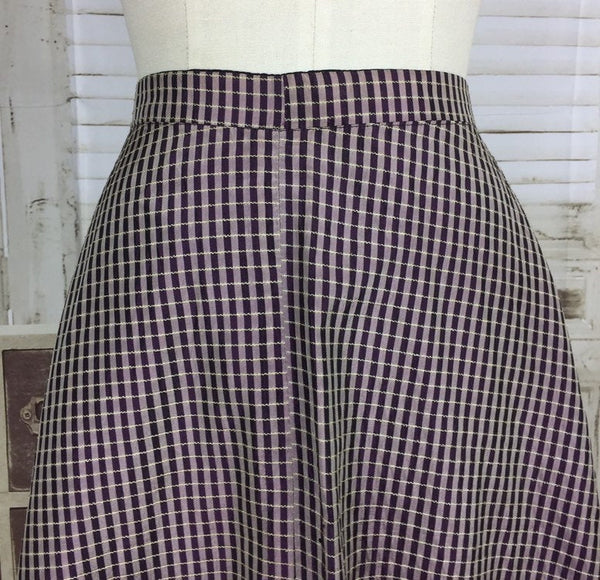 Original 1950s Vintage Taffeta Plaid Purple Pink Green Two Tone Circle Skirt By Randler Paris
