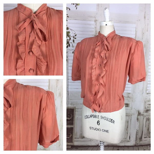 RESERVED ON LAYAWAY FOR KELLY - PLEASE DO NOT PURCHASE - Rare Original Vintage Volup 1930s 30s Salmon Crepe Blouse With Puff Sleeves And Ruffle