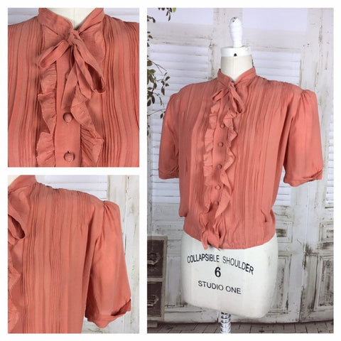 Rare Original Vintage Volup 1930s 30s Salmon Crepe Blouse With Puff Sleeves And Ruffle