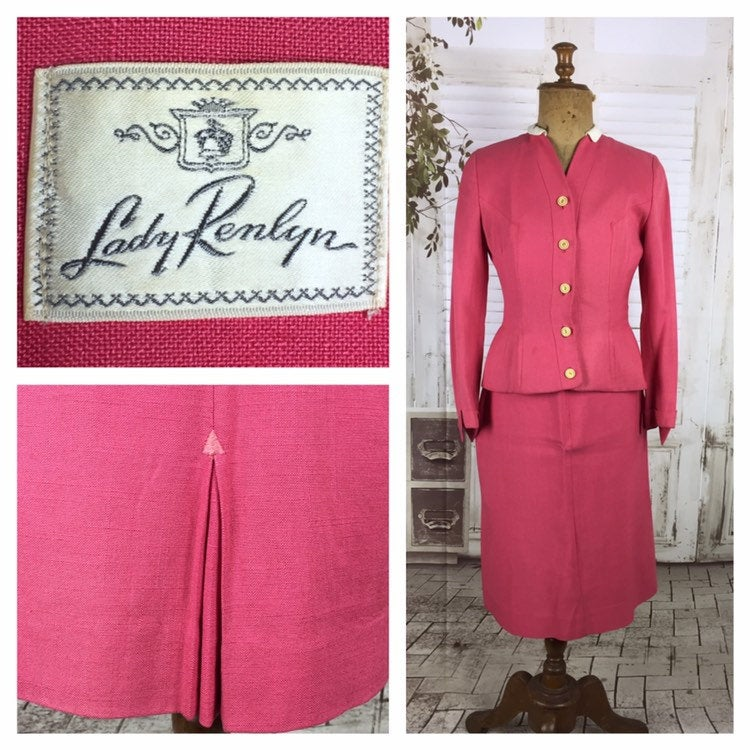 Original 1940s Petite Pink Vintage Summer Skirt Suit By Lady Renlyn