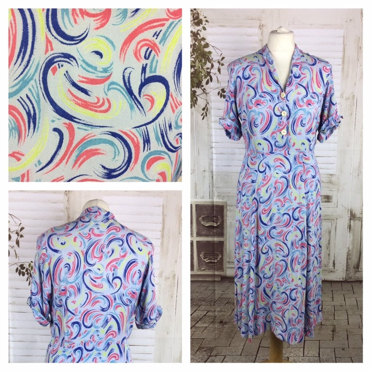 Original 1940s Volup Vintage Crepe Shirt Waister Dress With Swirly Pattern