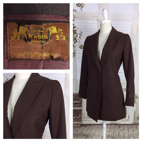 Original 1930s 30s Vintage Brown Ladies Longer Length Blazer By Kadis Des Moines