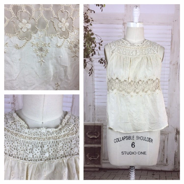 Original 1920s Vintage Silk And Lace Blouse With Embroidered Flowers and Pintucks