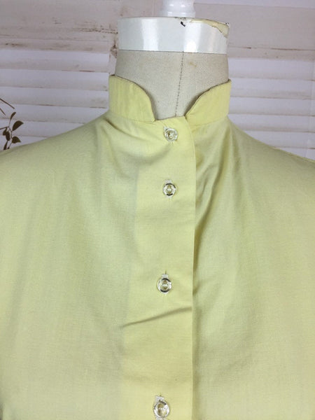 Original 1930s Vintage Yellow Blouse With Puff Sleeves And Glass Buttons