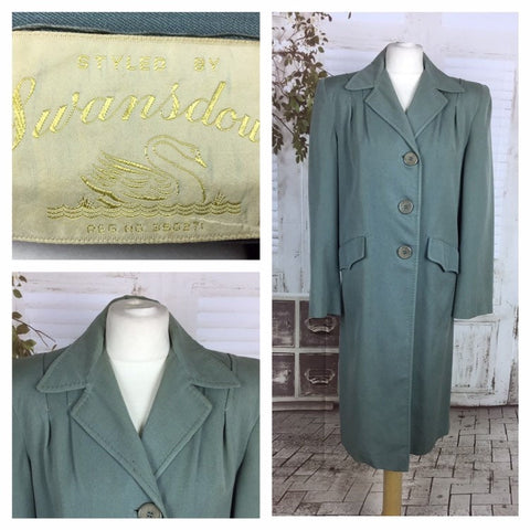 Original 1940s Vintage Gabardine Seafoam Green Swing Coat By Swansdown