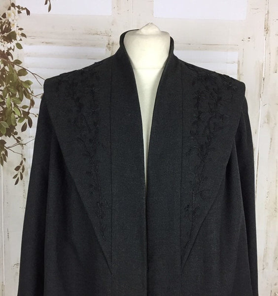 Original 1940s Vintage Grey Wool Swing Coat With Embroidered And Beaded Flowers By Frances Stuart