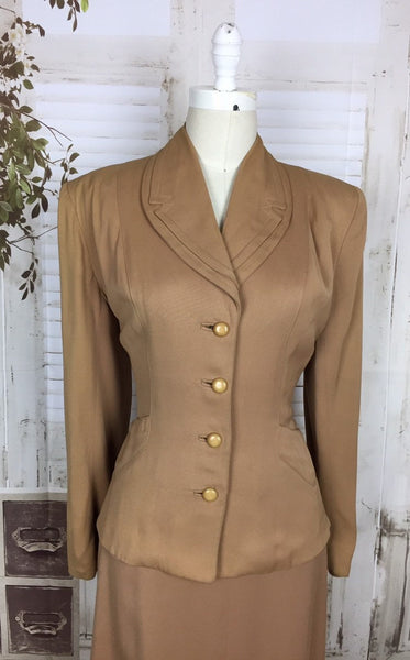 Original Vintage 1940s 40s Brown Caramel Gabardine Gab Skirt Suit American By Renee Fran