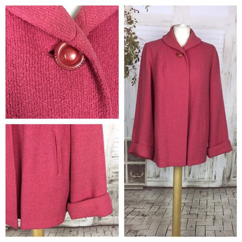 Original 1950s 50s Pink Bouclé Wool Vintage Swing Coat