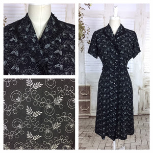 Original 1940s 40s Vintage Black Novelty Print Dress With Ruffles And Diamante Buttons Leaf Pattern