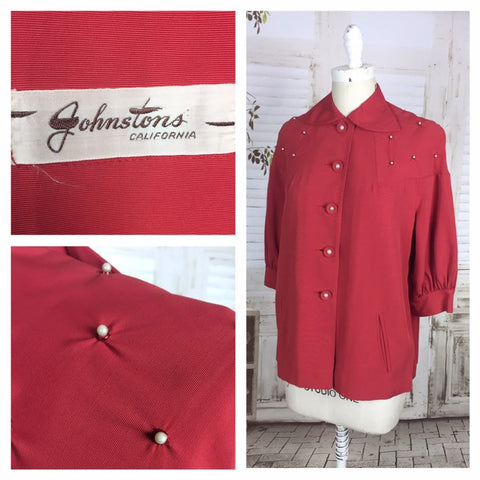 Original 1950s Red Gabardine Ladies Vintage Swing Jacket With Faux Pearl Embellishment By Johnstons California