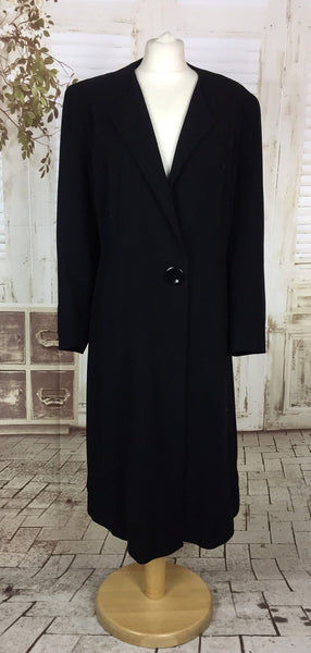Original 1940s 40s Classic Vintage Volup Black Wool Coat By Marshall & Snelgrove